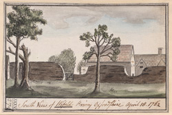 South view of Wifeld priory, Oxfordshire, 18 April 1762